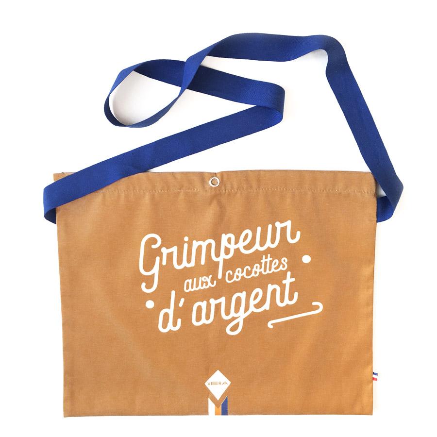 idées cadeaux originales pour cycliste Musette Grimpeur moutarde vintage