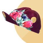 Casquette velo florale ruby et or Protea Flora - Vera Cycling